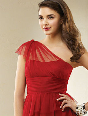 Red bridesmaid dress by Alfred Angelo
