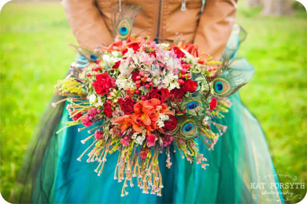 Peacock bouquet photo by Kat Forsyth
