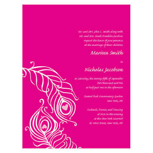 Perfect peacock invitation pink