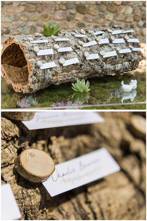 Nature inspired seating plan with wood and mini log pieces | Confetti.co.uk