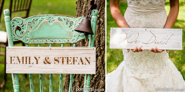 Personalised wooden board wedding signs | Confetti.co.uk