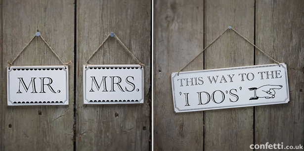 Mr and Mrs and directional hanging wedding signs | Confetti.co,uk