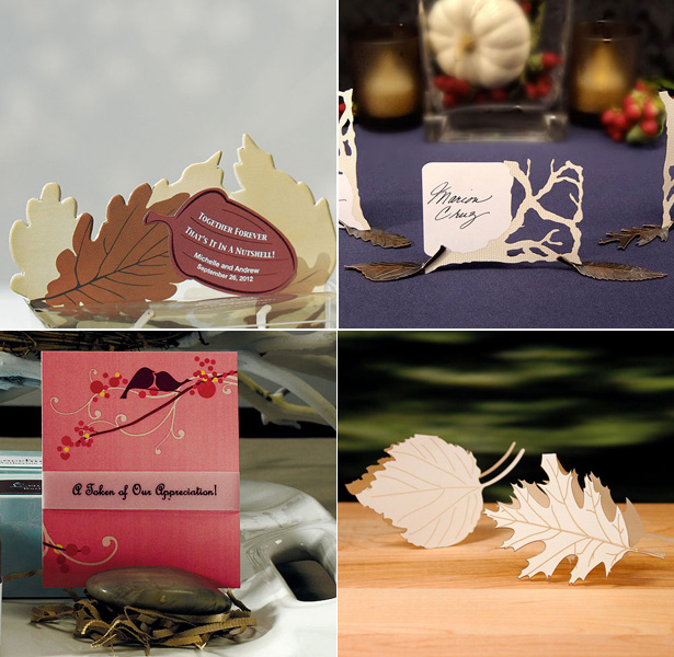 Autumn Wedding Details | Autumn inspired table place card holders | Leaf shared place cards and place card holders |Stone place card holder| Confetti.co.uk