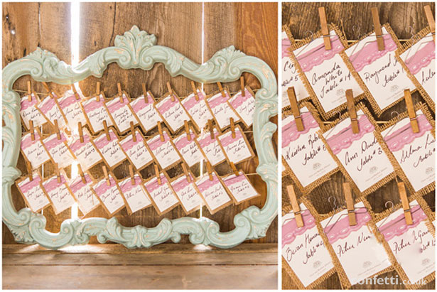 Rustic vintage wedding seating plan  |DIY seating plan idea | Barn Wedding | Confetti.co.uk