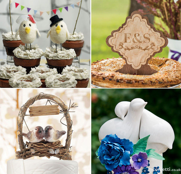Autumn Wedding Details | Autumn, rustic wedding cake toppers | Bird cake toppers | Personalised wooden cake topper | Confetti.co.uk