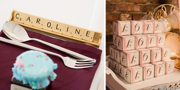Letter blocks and scrabble pieces as alternate signs | Confetti.co.uk