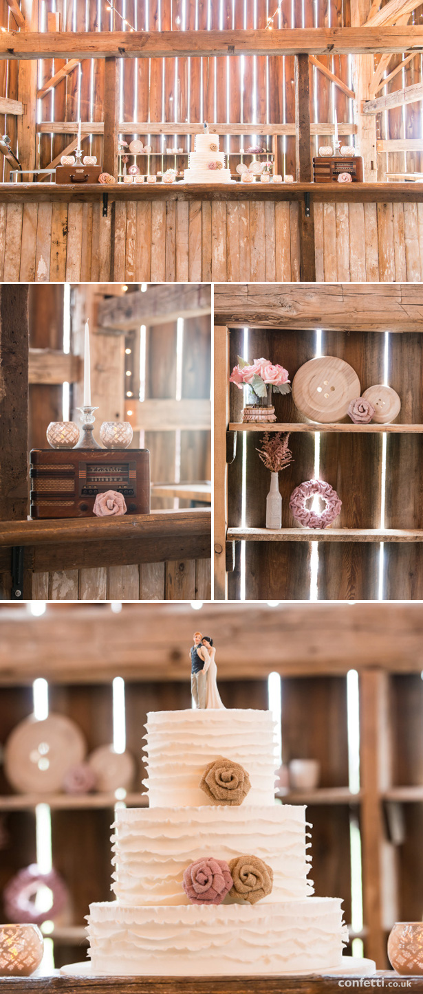 Rustic, barn wedding cake table | Confetti.co.uk