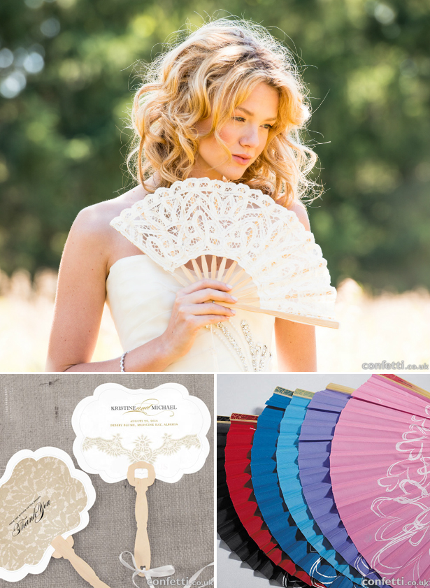 Fabric and paper hand fans | Confetti.co.uk