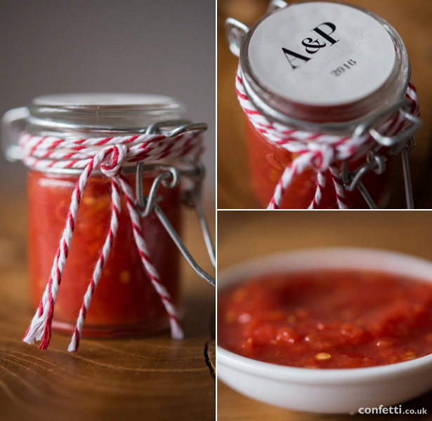 Fill a mini jar with homemade salsa for a bright autumnal wedding favour from Confetti.co.uk