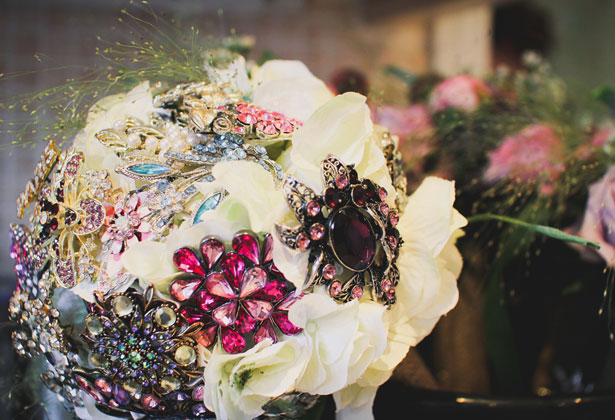 Bridal bouquet inspiration | Flower and brooch ivory wedding bouquet | Wedding bouquet alternative ideas | Confetti.co.uk