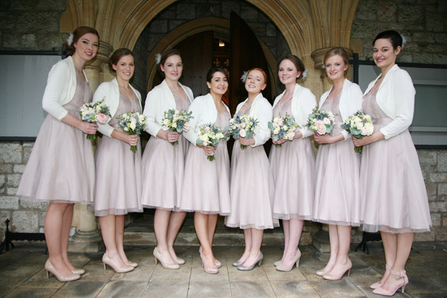 Styling Autumn Wedding | Image courtesy of AVA Images |Real Wedding Bridesmaids Autumn Wedding Fashion | Bridesmaids in Nude Tea-Length Dresses and Ivory Boleros |Confetti.co.uk