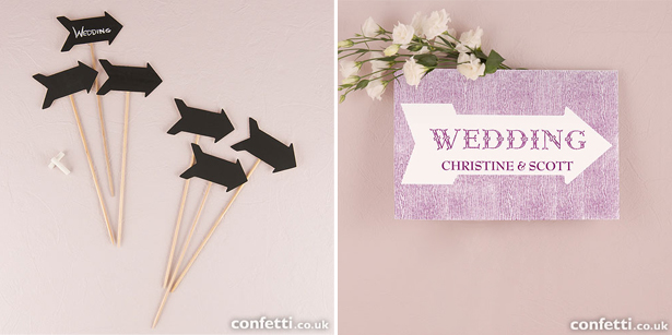 Pointing arrow wedding signs | Confetti.co.uk