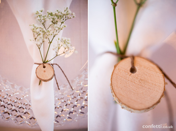 Mini log piece with baby's breathe napkin ring |DIY wedding napkin rings |Barn Wedding | Confetti.co.uk