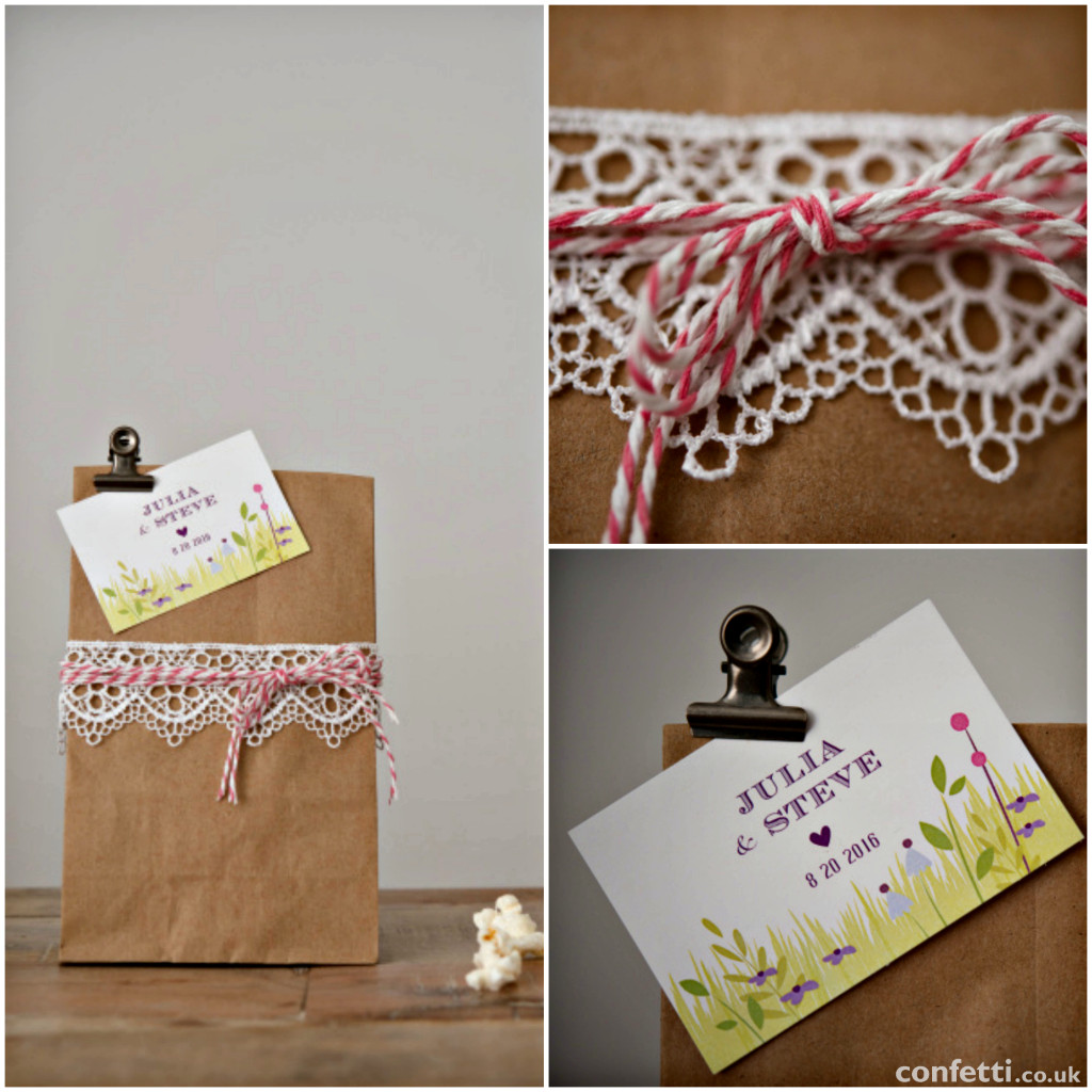A Little Lace DIY Wedding Favour Bags Details | Confetti.co.uk