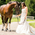 Bride with horse for a rustic equestrian wedding | Confetti.co.uk