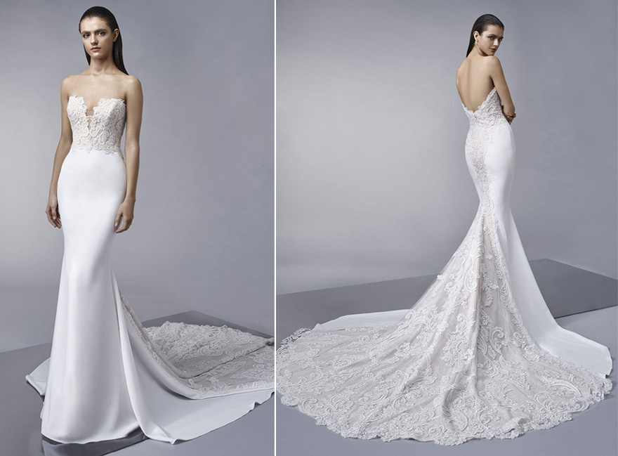 MARNIE Stretch Georgette Strapless Mermaid Wedding Gown by Enzoani | Confetti.co.uk