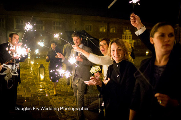 Styling Autumn Wedding | Real Wedding Autumn Wedding Entertainment Ideas | Sparklers send off  | Image courtesy of Douglas Fry Wedding Photographer | Confetti.co.uk