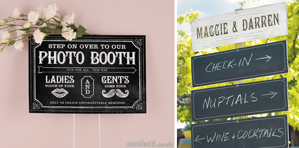 Retro wedding sign and wooden board | Confetti.co.uk