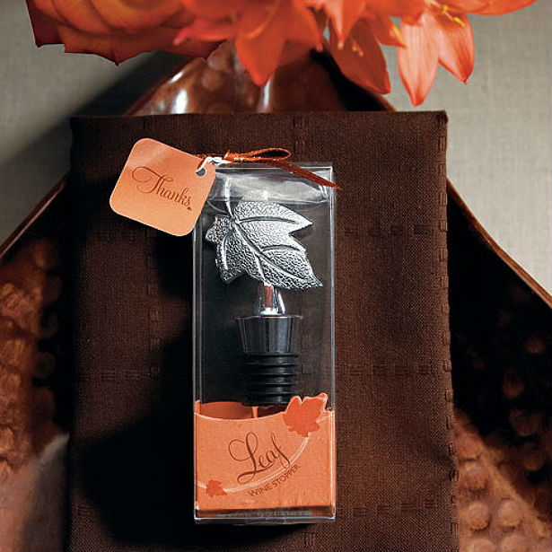 Leaf Wine Stopper with brown and orange wedding colours