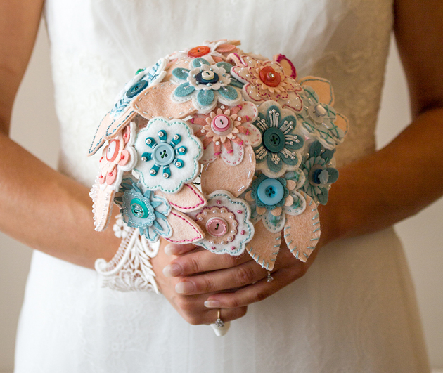 Bridal bouquet inspiration | Unique fabric and button wedding bouquet |Flower alternative wedding bouquet | Confetti.co.uk