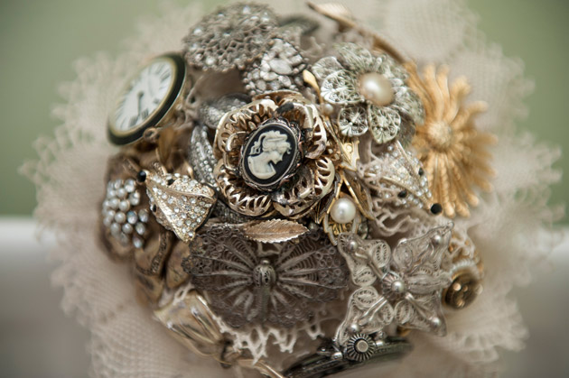 Bridal bouquet inspiration | Vintage brooch bouquet | Wedding bouquet alternative ideas | Confetti.co.uk