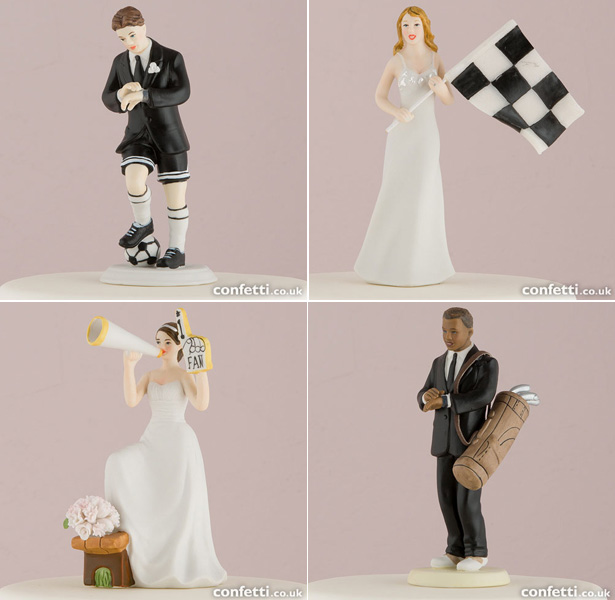 Sporty Cake Toppers | Bride and Groom sport fanatic cake toppers | Confetti.co.uk