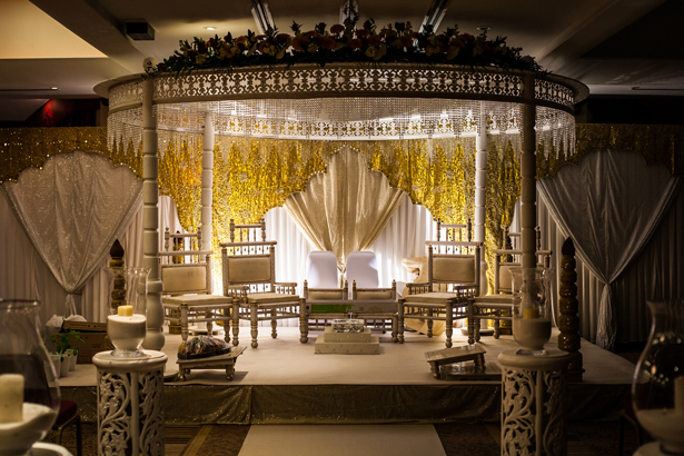 White and gold wedding mandap | Indian wedding decor| Confetti.co.uk