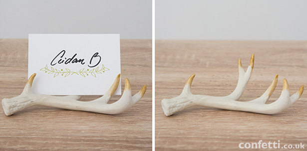 Antlers decoration with gold-painted tips and place card | Confetti.co.uk