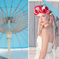 Powder blue wedding parasol | Confetti.co.uk