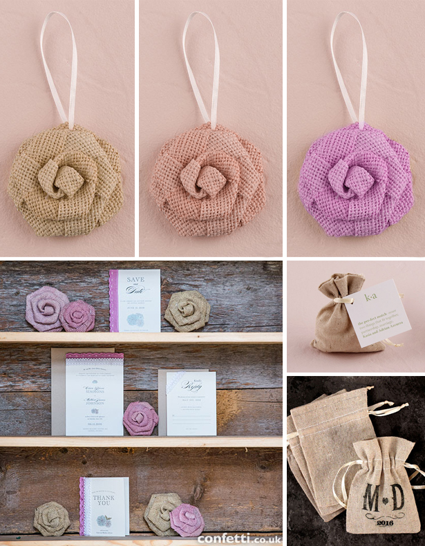 Burlap DIY flowers and bags as wedding decoration | Confetti.co.uk