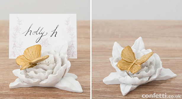 Gold-painted butterfly decorative place card holder | Confetti.co.uk