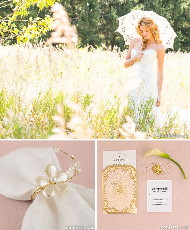 Classic white and gold wedding accessories and decorations | Confetti.co.uk