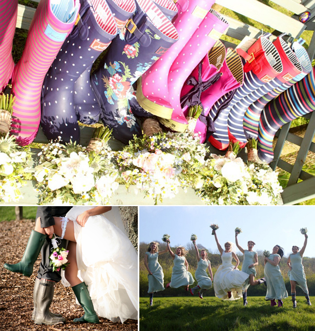 Colourful real wedding wellies as wedding photo opportunities | Confetti.co.uk