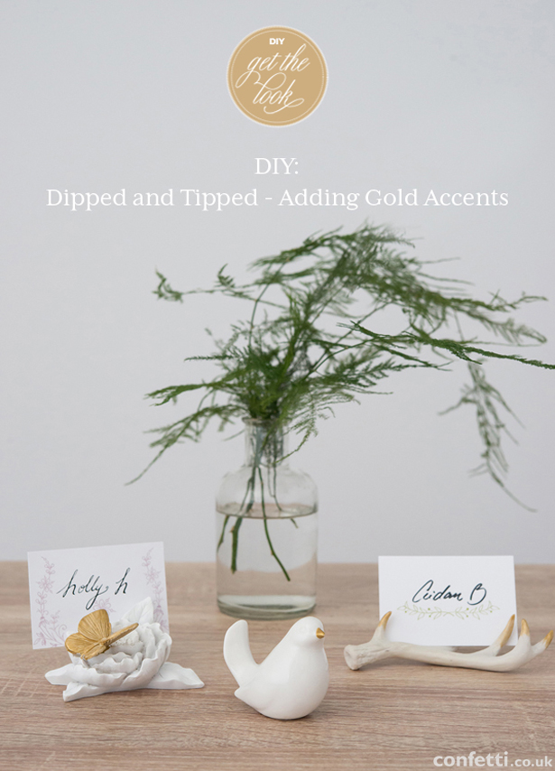 DIY wedding gold-accented antlers, ceramic bird, and butterfly  with place cards| Confetti.co.uk