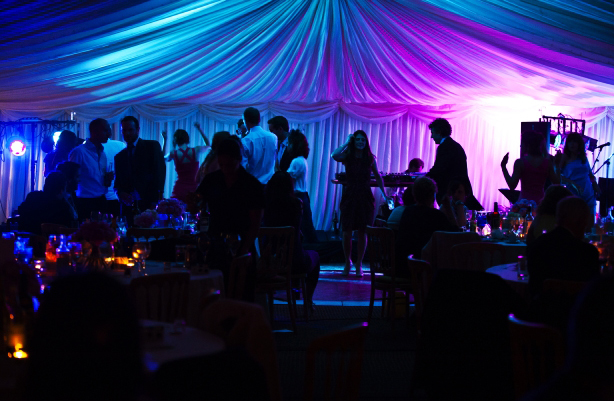 Blue-purple wedding marquee for the reception | Confetti.co.uk