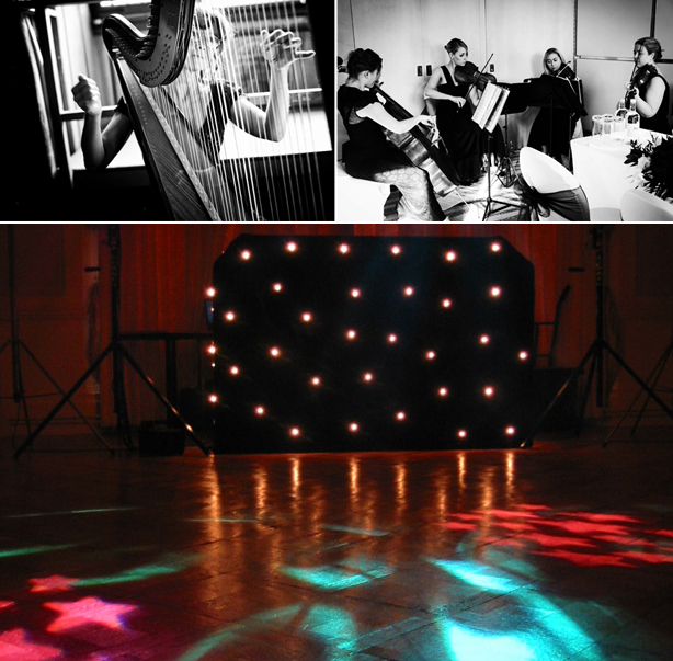 Wedding disco lights and dance floor and acoustic instruments | Confetti.co.uk