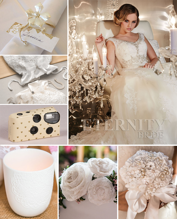 Classic ivory and gold wedding theme with Eternity Bride's dress style D5196 | Confetti.co.uk
