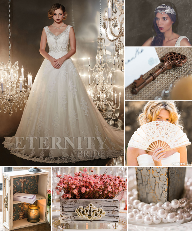 Eternity Bride dress D5196  with contemporary vintage accessories and decorations | Confetti.co.uk