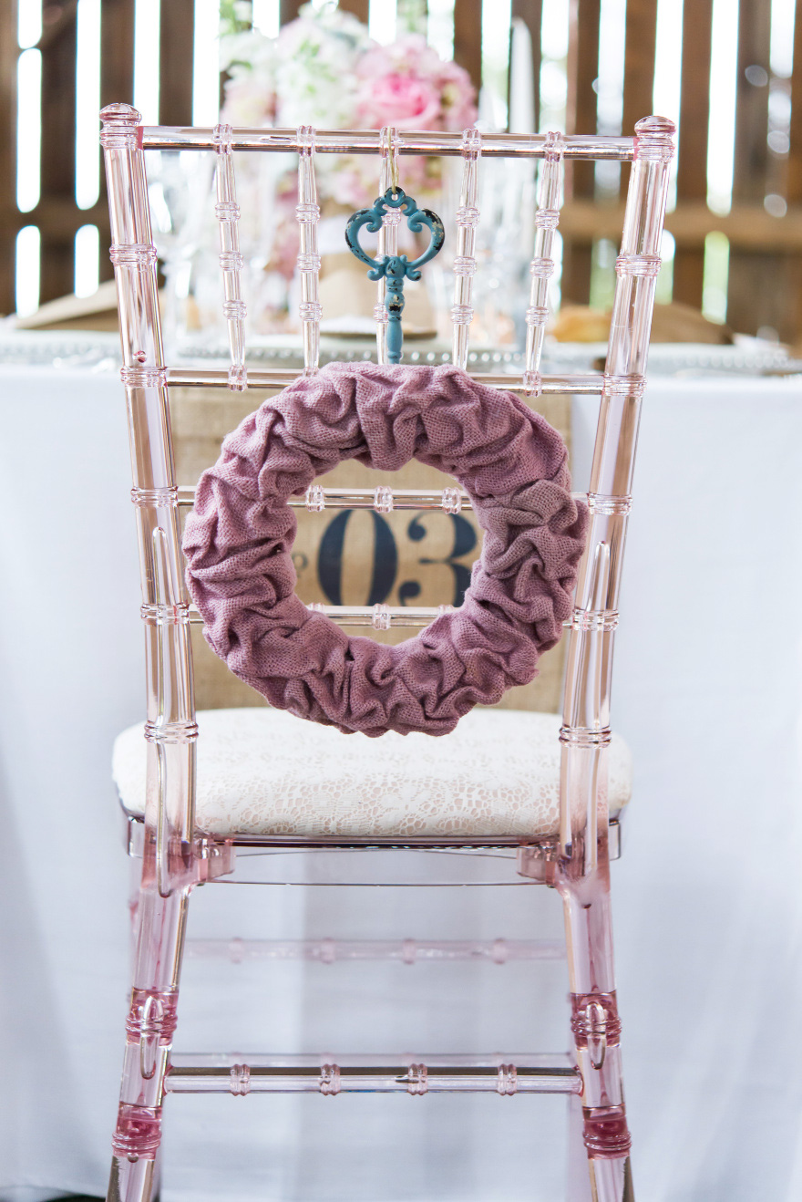 Pink and White Barn Wedding Chair Back Decoration | Confetti.co.uk