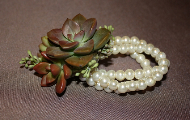 Chocolate brown wedding succulents corsage on a string of pearls   Confetti.co.uk