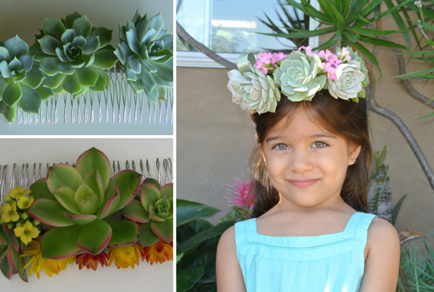 Colourful wedding succulents as hairpieces and crowns   Confetti.co.uk