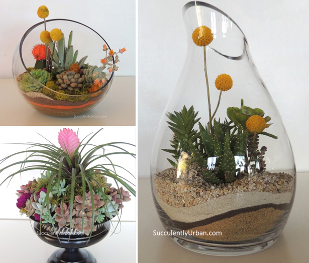 Succulent wedding terrariums and arrangements with flowers as wedding centrepieces | Confetti.co.uk