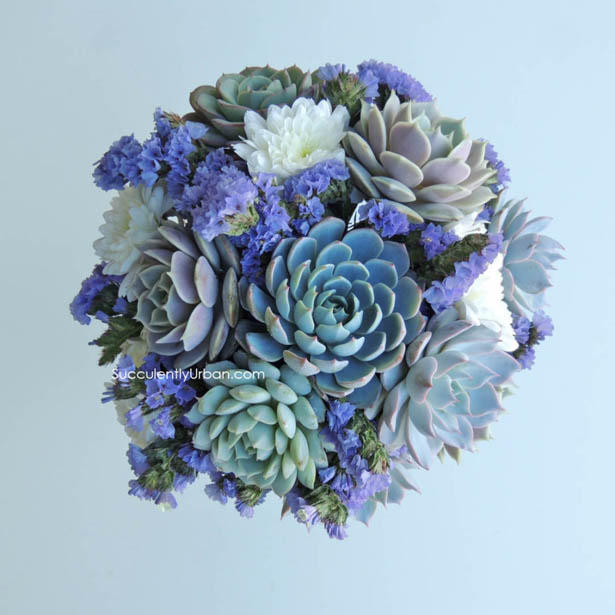 White and blue succulent wedding bouquet with flowers   Confetti.co.uk