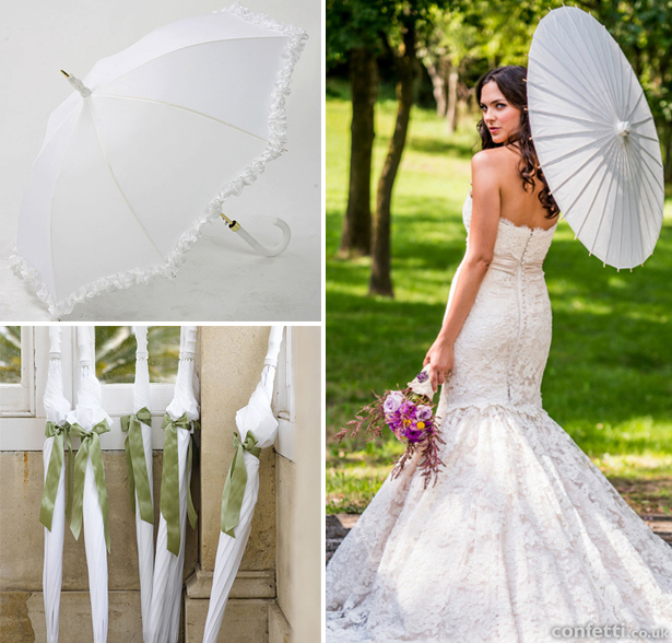 Large white umbrellas and paper parasols available in the Confetti shop for rain on your wedding day | Confetti.co.uk
