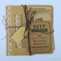 Vintage pink and brown parcel wedding stationery with ribbon and twine | Confetti.co.uk
