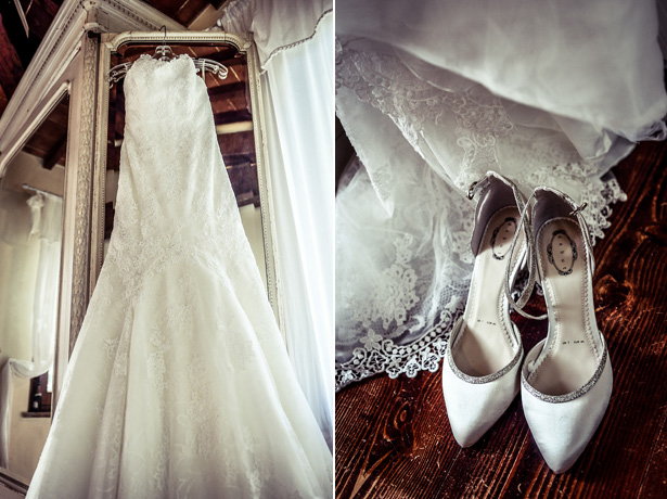 Pronovias, strapless lace wedding dress | White and silver bridal shoes| Morgan and James Real Wedding By Infinity Weddings | Confetti.co.uk