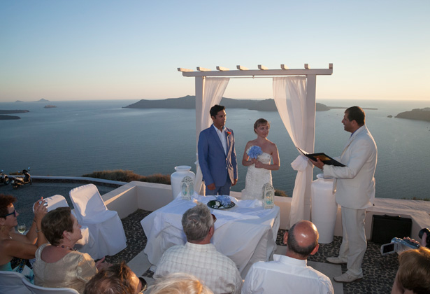 White and blue wedding outdoor ceremony| Dasha and Steve's Real Wedding In Greece | Marryme in Greece | Confetti.co.uk