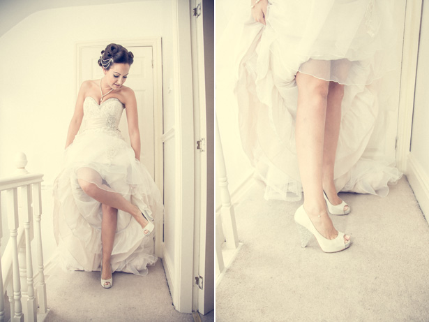 Bride in her white pep toe bridal shoes with silver detailed heel   Becki and Rob's Real Wedding By Jenny Martin Photography   Confetti.co.uk