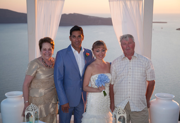 The newlyweds with the brides parents | Wedding moments | Dasha and Steve's Real Wedding In Greece | Marryme in Greece | Confetti.co.uk