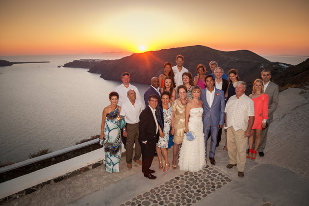 The newlyweds with their family and friends | Wedding ceremony at sunset| Wedding moments | Dasha and Steve's Real Wedding In Greece | Marryme in Greece | Confetti.co.uk